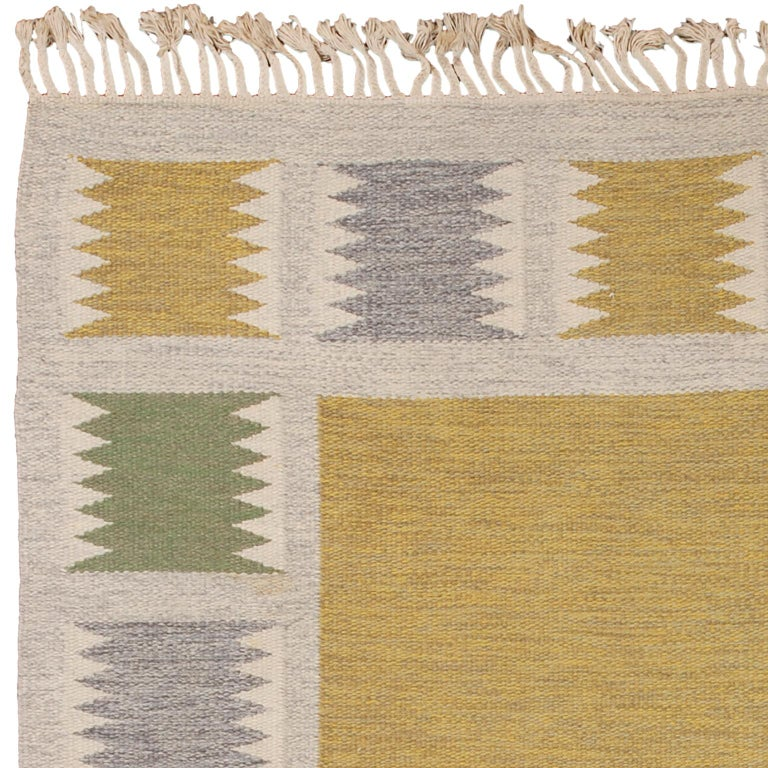 Mid 20th Century Swedish Flat-Weave Rug by Birgitta Sodergren In Good Condition For Sale In New York, NY