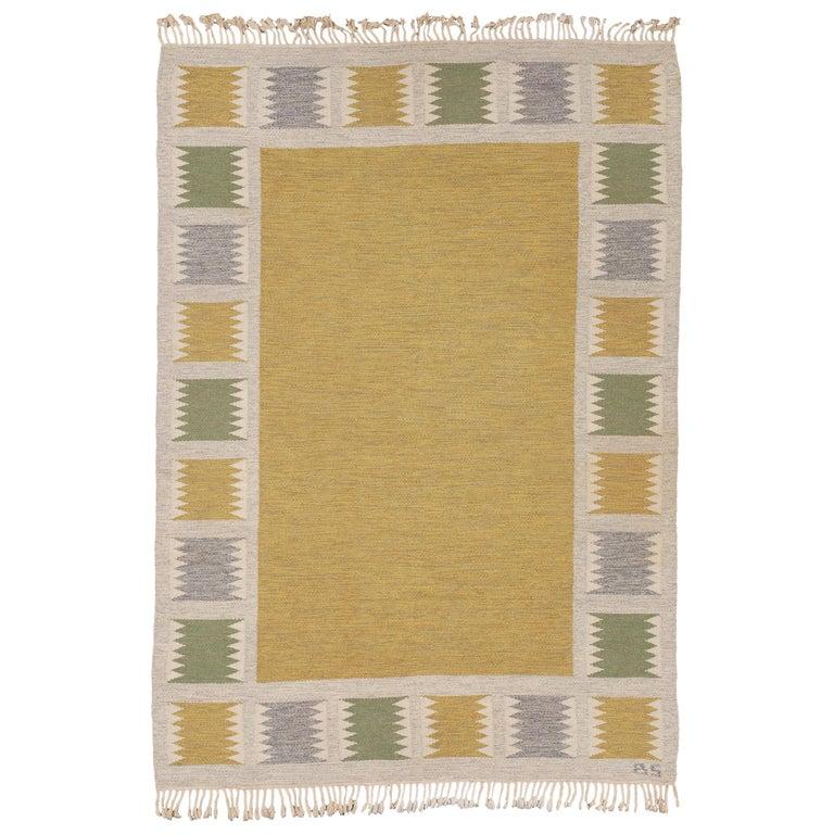 Mid 20th Century Swedish Flat-Weave Rug by Birgitta Sodergren For Sale