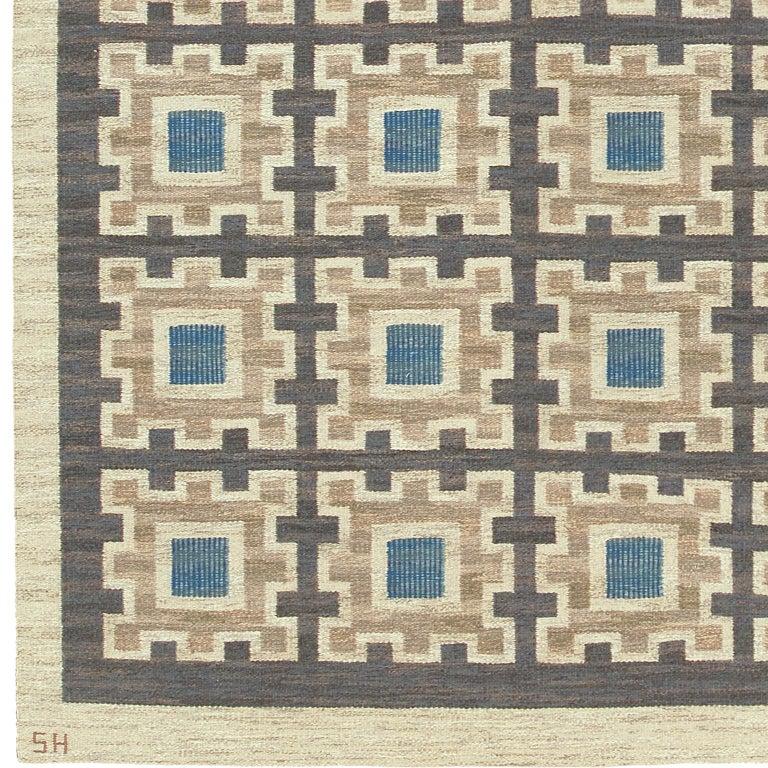 Swedish flat-weave rug by Edna Martin Sweden circa 1950 Designed by: Edna Martin for Svensk Hemslöjd Initialed: SH Handwoven.
