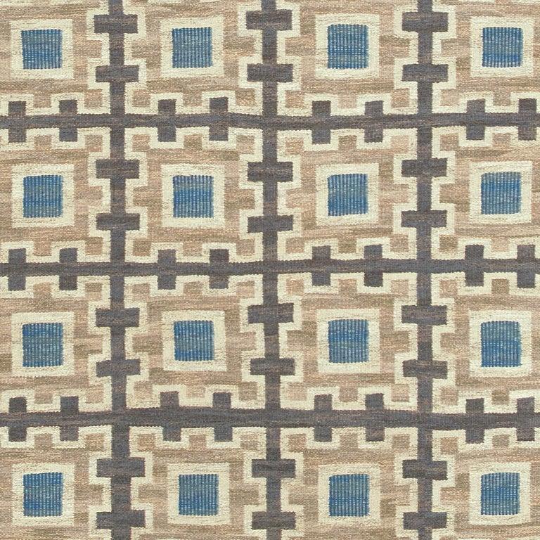 Scandinavian Modern Swedish Flat-Weave Rug by Edna Martin For Sale