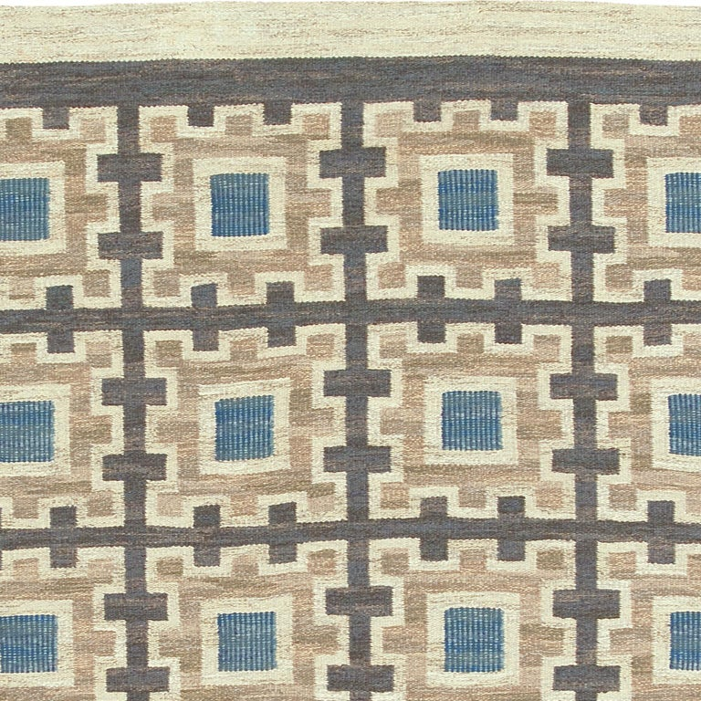 Hand-Woven Swedish Flat-Weave Rug by Edna Martin For Sale