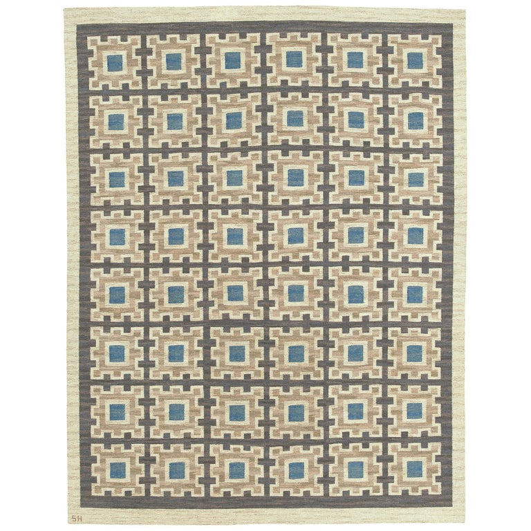 Swedish Flat-Weave Rug by Edna Martin For Sale
