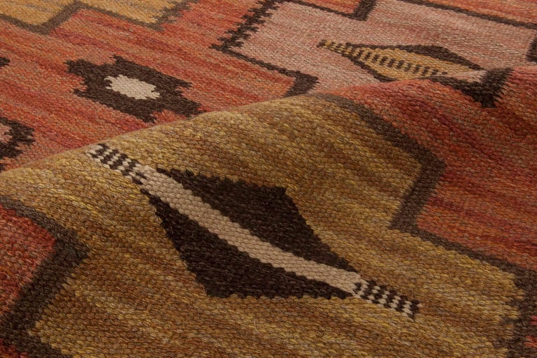 Mid-Century Modern Swedish Flat-Weave Rug For Sale