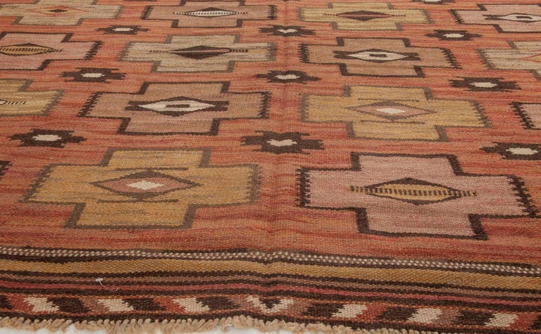 Hand-Woven Swedish Flat-Weave Rug For Sale