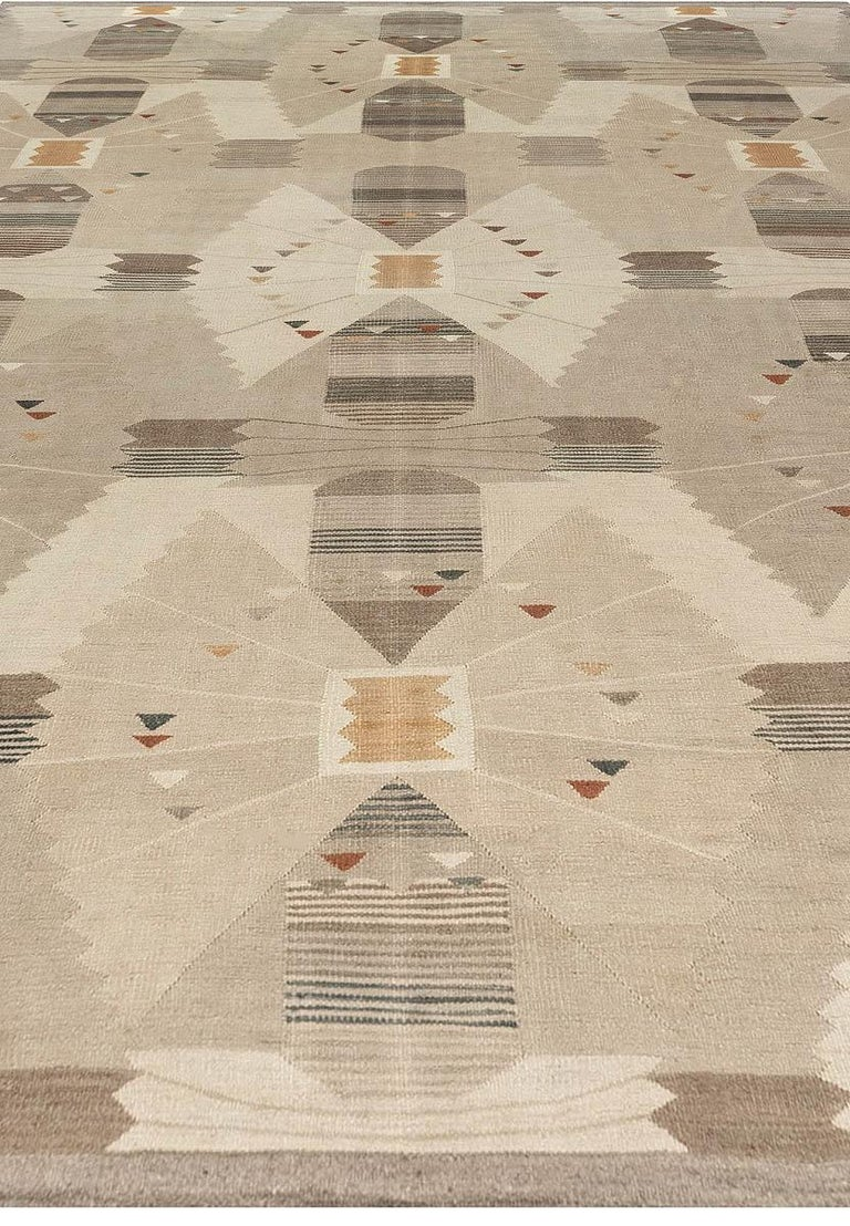 Hand-Knotted Swedish Flat-Weave Rug For Sale