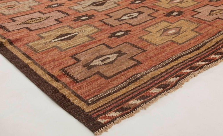 Wool Swedish Flat-Weave Rug For Sale