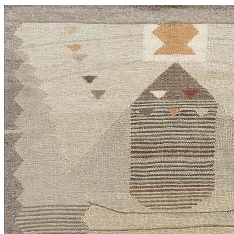 Wool Swedish Flat-Weave Rug For Sale