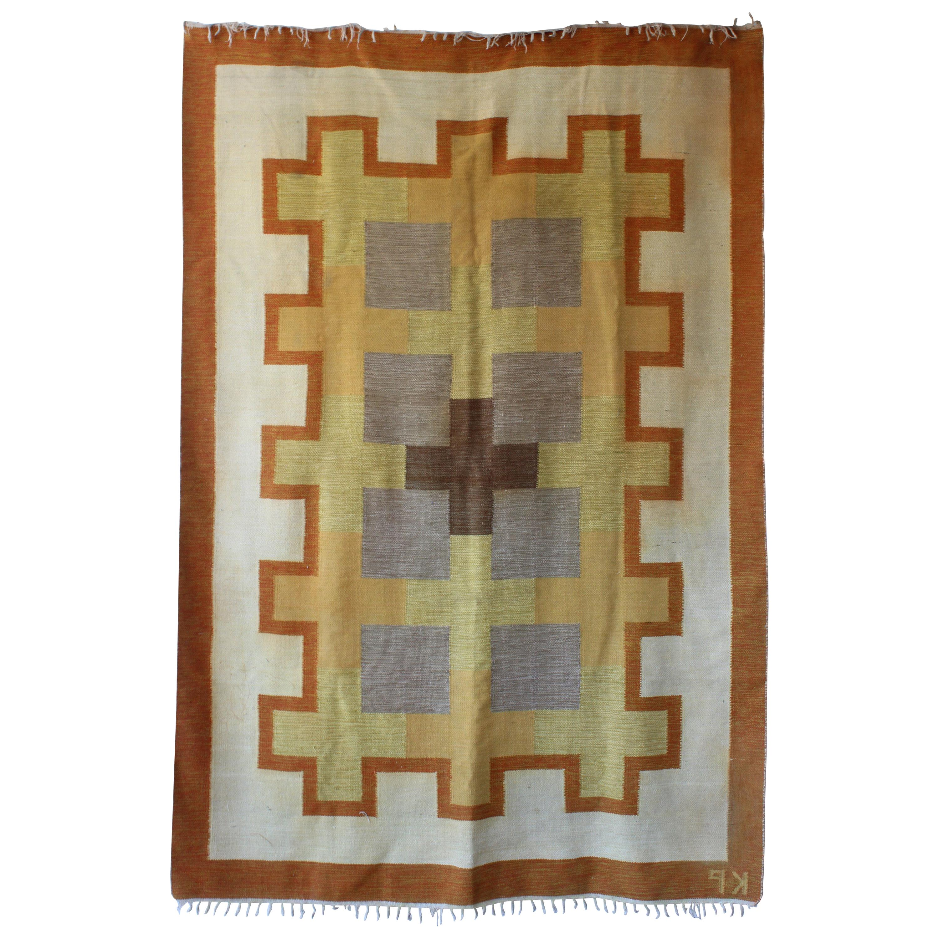 Swedish Flat-Weave Wool Rug by Kerstin Persson, 1960s