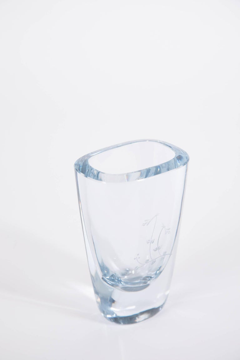 Swedish Floral Engraved Strombergshyttan Glass Vase For Sale At 1stdibs