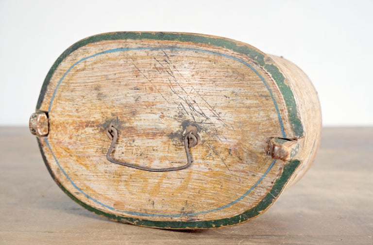 Late 19th Century Swedish Folk Art Bentwood Box with Original Paint, Dated 1879 For Sale