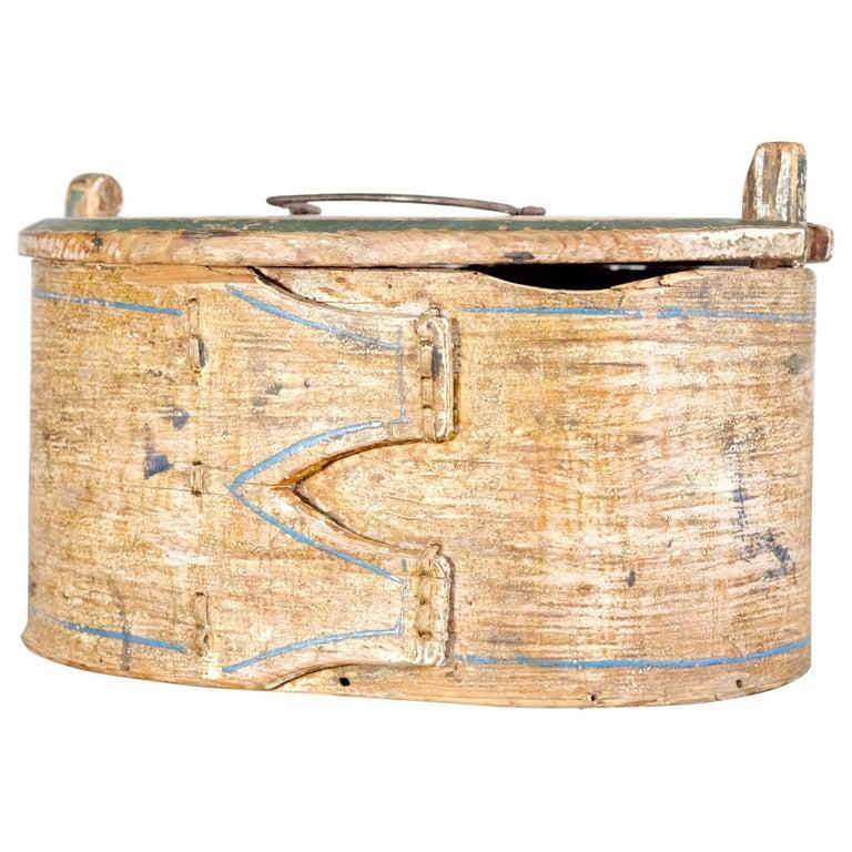Swedish Folk Art Bentwood Box with Original Paint, Dated 1879, Scandinavian For Sale
