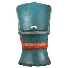 Swedish Folk Art Blue and Orange Kubbstol Chair