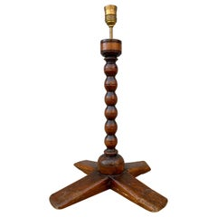 Swedish Folk Art Candlestick Table Lamp, Dated 1737