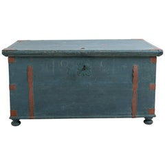 Swedish Folk Art Chest with Original Blue Paint