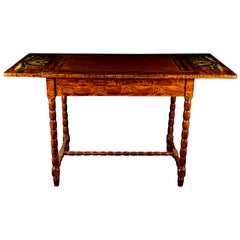 Swedish Folk Art Kurbits Country Drop-Leaf Table, Late 19th Century