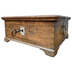 Swedish Folk Art Oak Box, Dated 1783