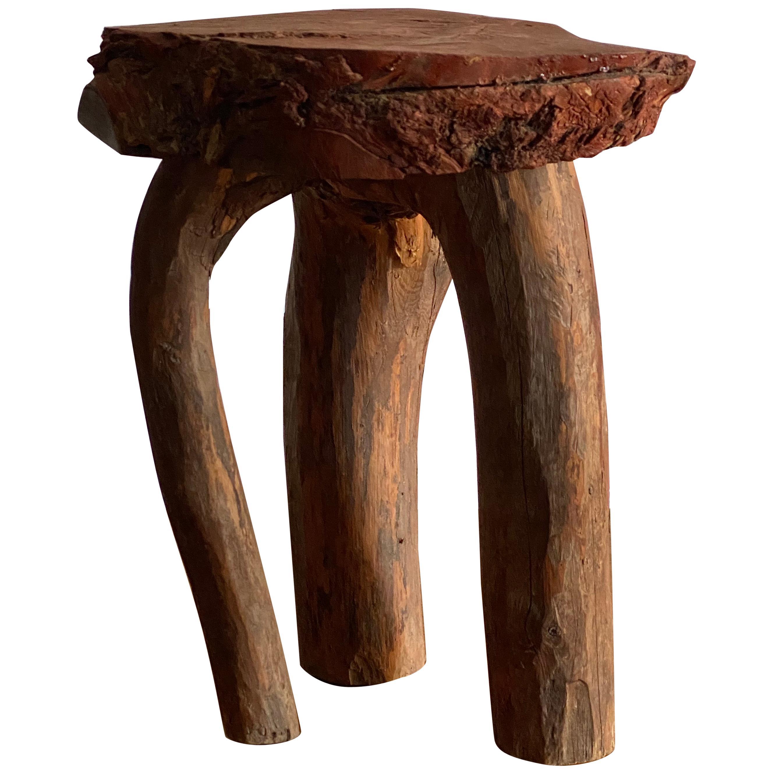"""Swedish Folk Art, Organic Side Table / Stool Wood, """"Faluröd"""" Paint, 19th Century"""