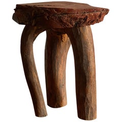 "Swedish Folk Art, Organic Side Table / Stool Wood, ""Faluröd"" Paint, 19th Century"