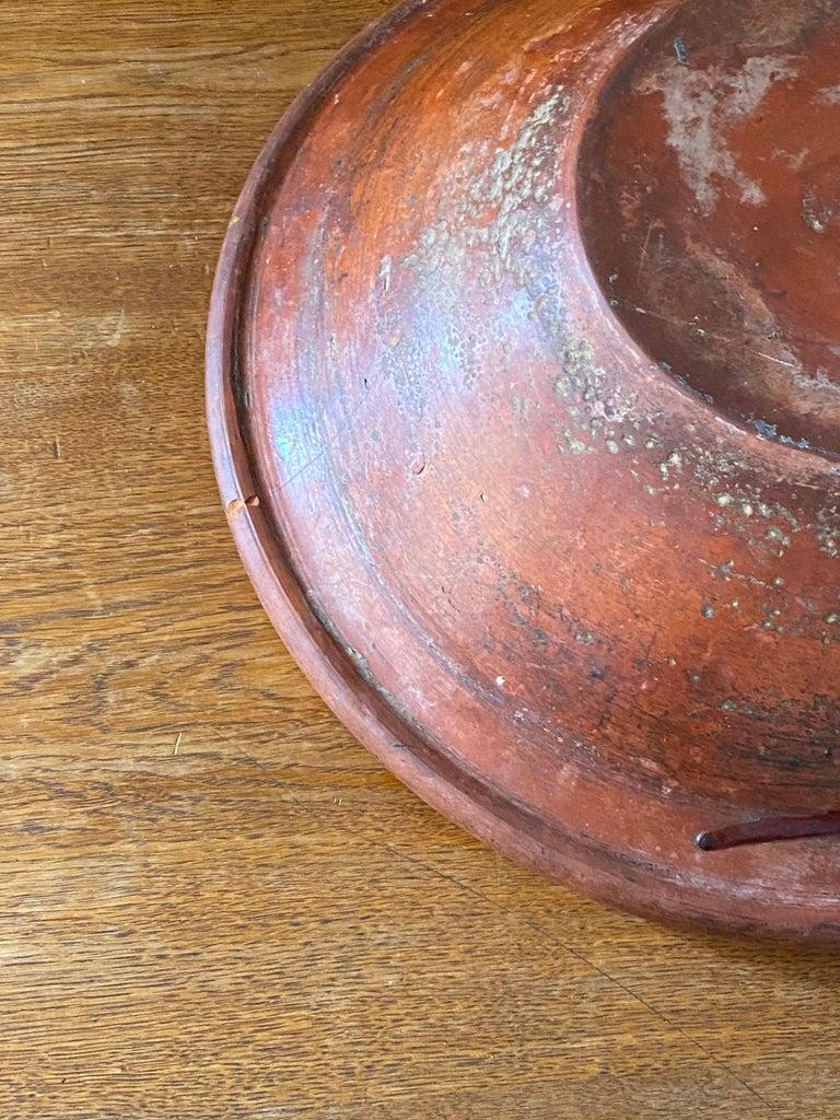 Swedish Folk Art Pottery, Unique Large 19th Century Pottery Farmers Bowl For Sale 10