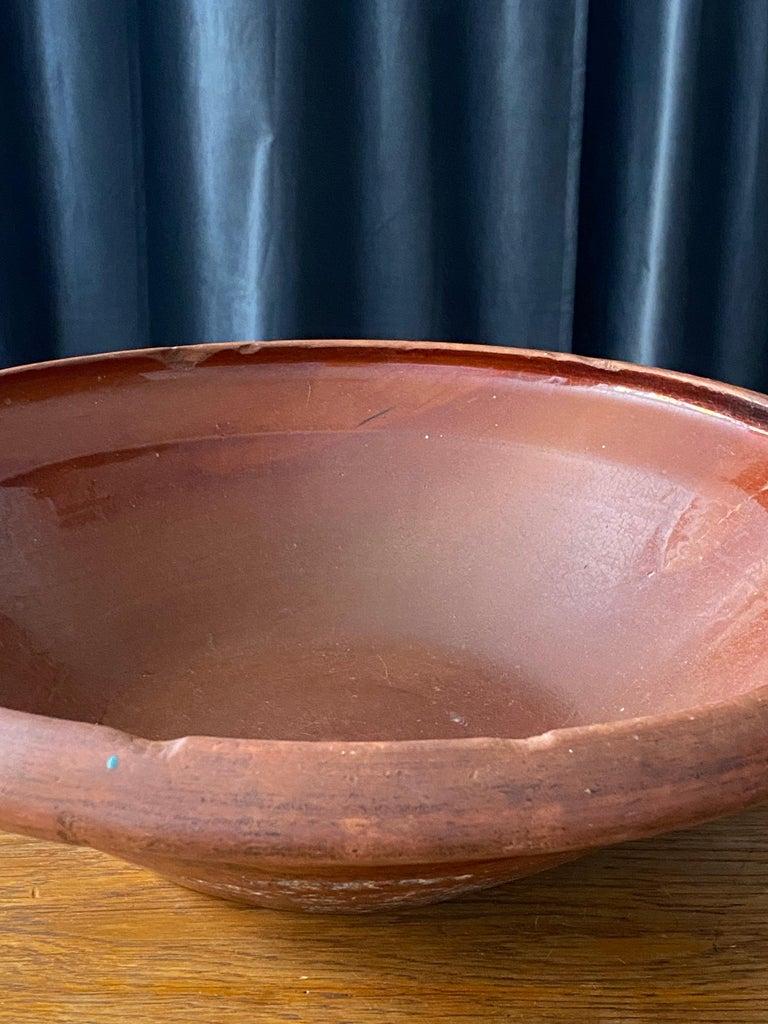 Ceramic Swedish Folk Art Pottery, Unique Large 19th Century Pottery Farmers Bowl For Sale