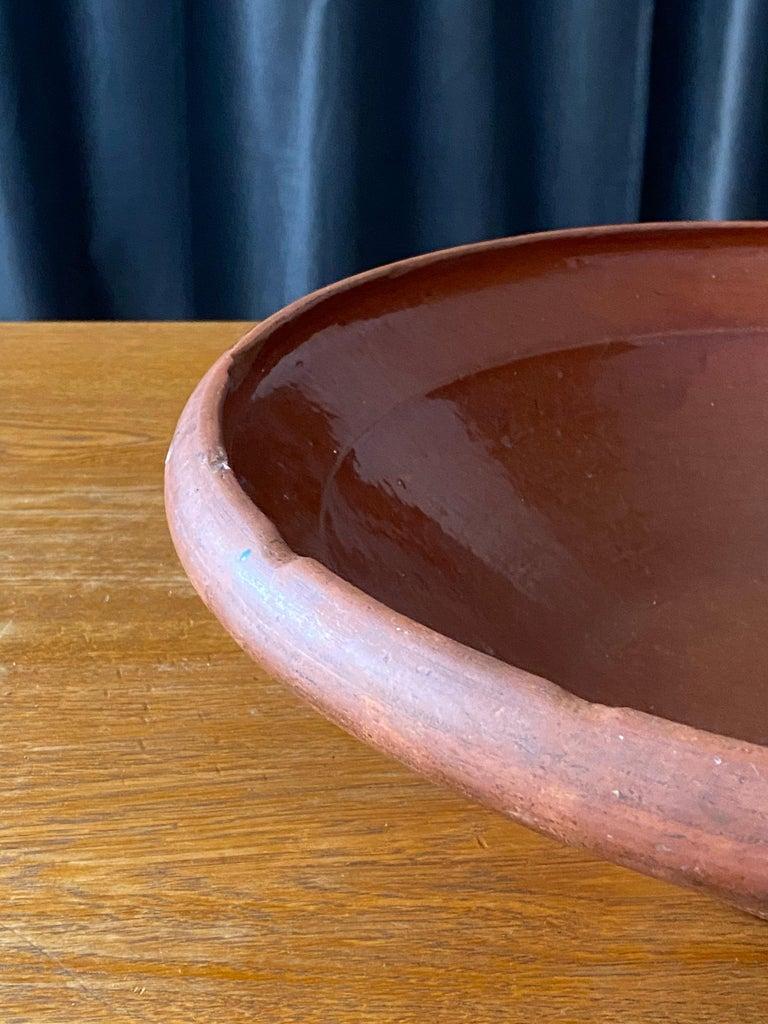 Swedish Folk Art Pottery, Unique Large 19th Century Pottery Farmers Bowl For Sale 5