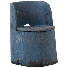 Swedish Folk Art Rustic Chair, Kubbstol