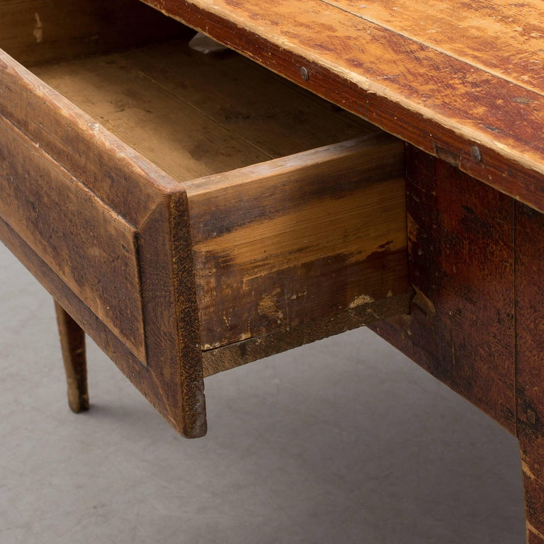 Swedish Folk Art table with large drawer and beautiful old patina, from mid-18th century.