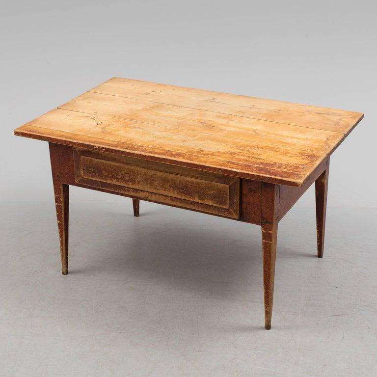 Wood Swedish Folk Art Table, 18th Century For Sale
