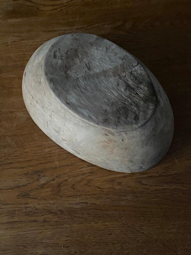 Swedish Folk Art, Unique 19th Century Farmers Bowl, Wood For Sale 4