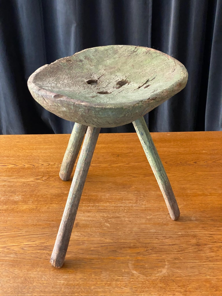 Swedish Folk Art, Unique Early 19th Century Farmers Stool, Green-Painted Wood For Sale 9