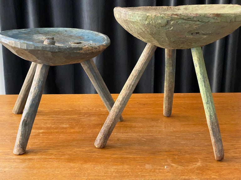 Swedish Folk Art, Unique Early 19th Century Farmers Stool, Green-Painted Wood For Sale 12