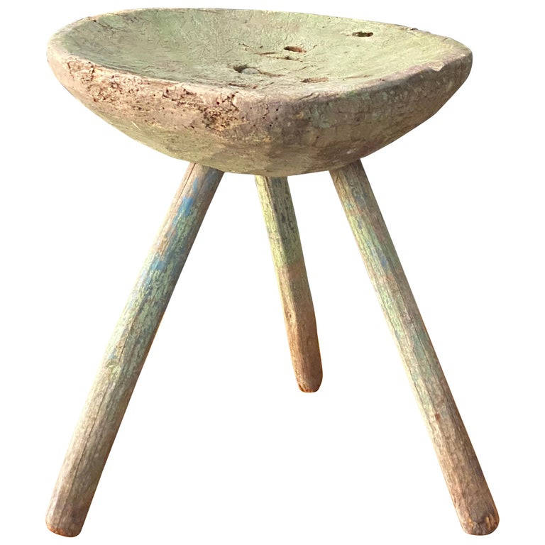 Swedish Folk Art, Unique Early 19th Century Farmers Stool, Green-Painted Wood For Sale
