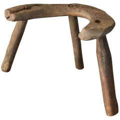 Swedish Folk Art, Unique Sculptural & Organic Farmers Stool, Wood, 19th Century