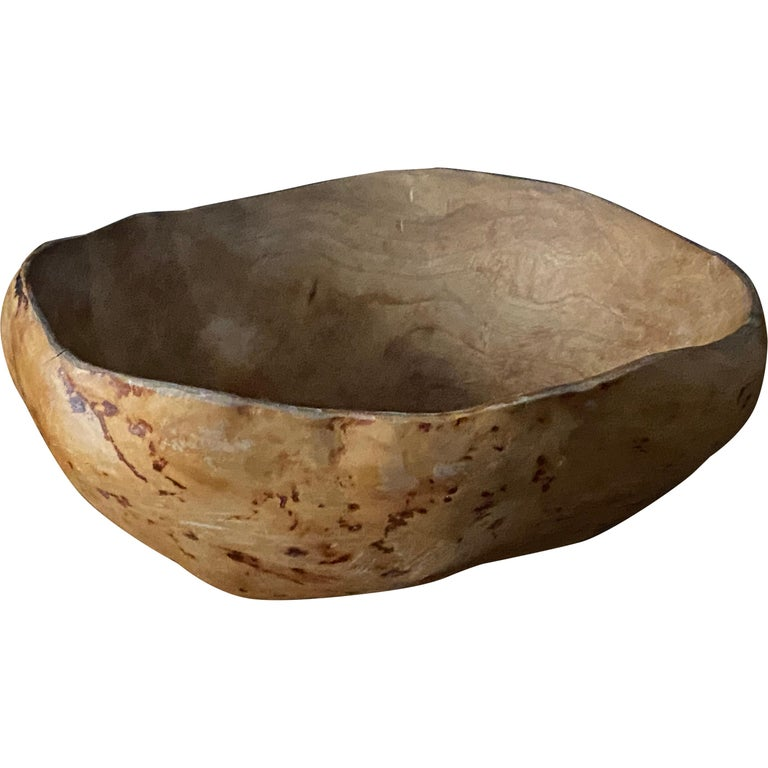 """Swedish Folk Art, Unique """"Vrilskål"""" Farmers Bowl, Root Wood, Early 20th Century For Sale"""