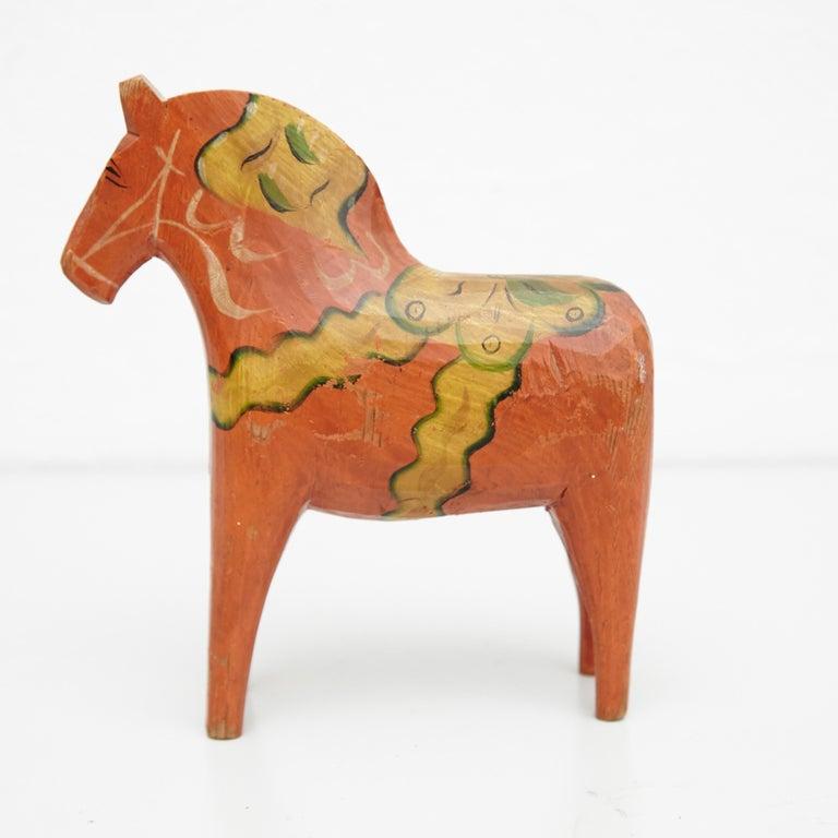 Folk Art Swedish Folk Wooden Horse Toy, circa 1920 For Sale