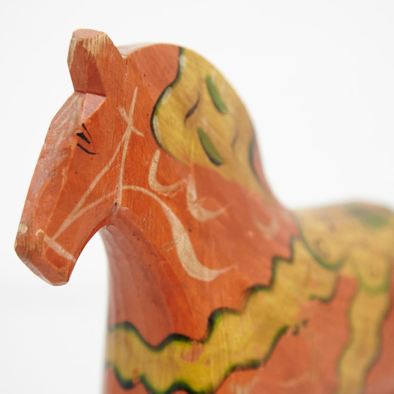 Early 20th Century Swedish Folk Wooden Horse Toy, circa 1920 For Sale