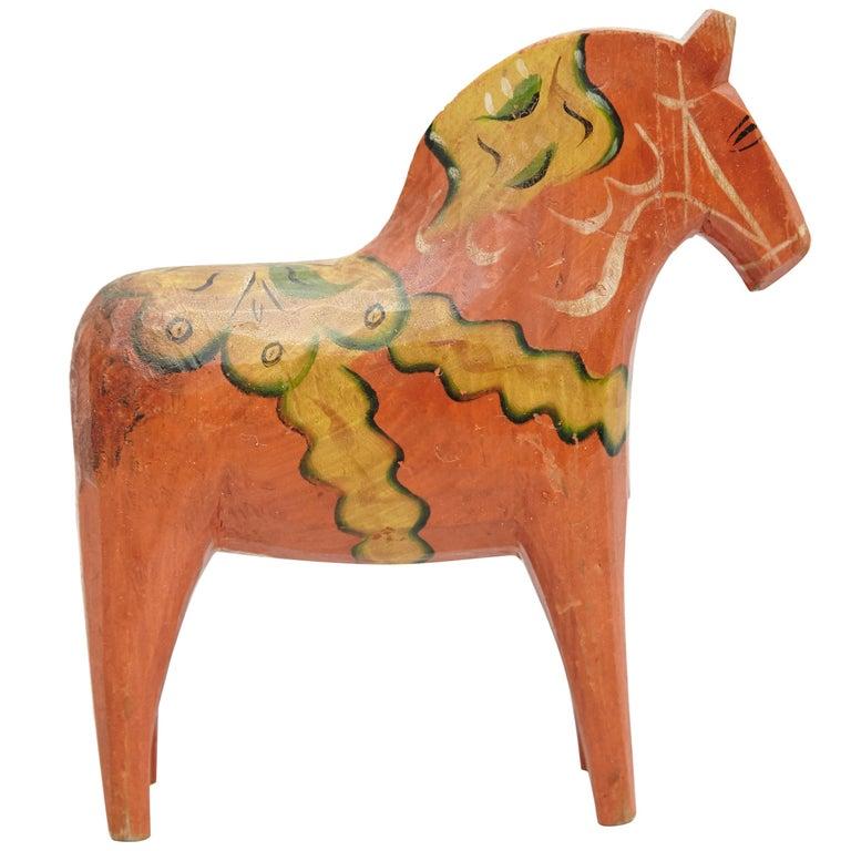 Swedish Folk Wooden Horse Toy, circa 1920 For Sale