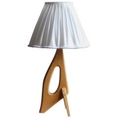 Swedish, Freeform Table Lamp, Light Wood, Silk, Sweden, 1950s