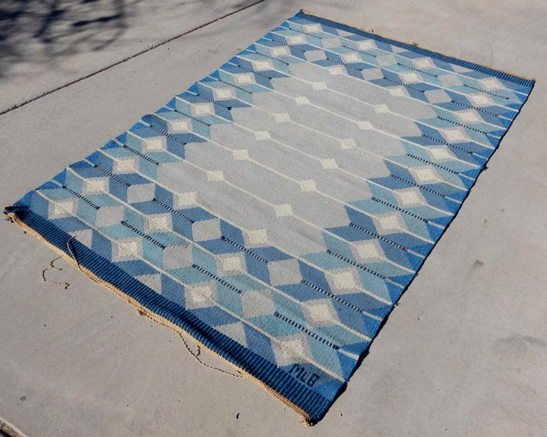 Exceptional Swedish flat-weave Kilim rug.