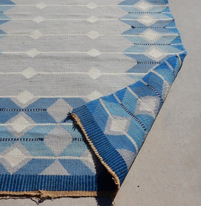 20th Century Swedish Geometric Flat-Weave Rug by MLB 1950s Scandinavian Artist For Sale