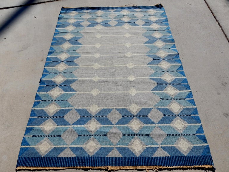 Wool Swedish Geometric Flat-Weave Rug by MLB 1950s Scandinavian Artist For Sale