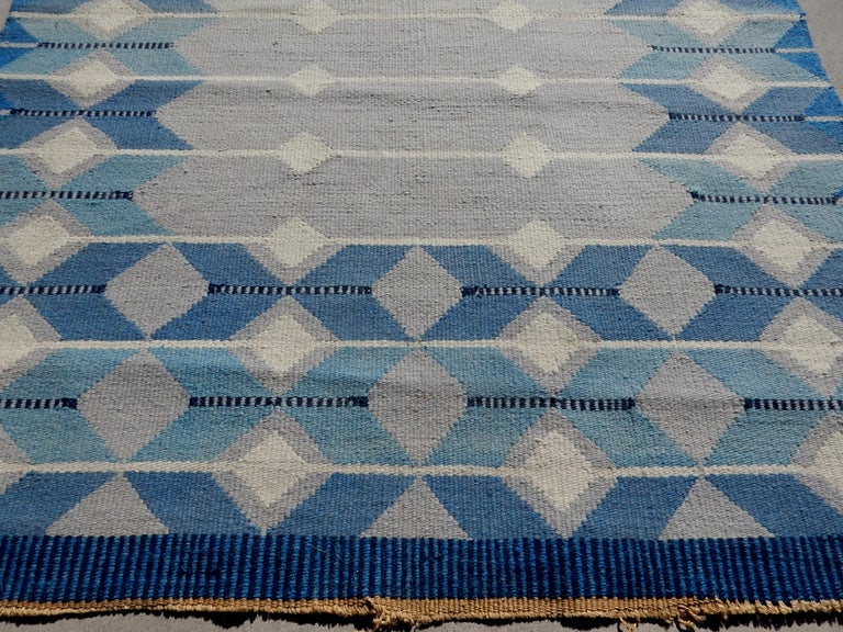 Swedish Geometric Flat-Weave Rug by MLB 1950s Scandinavian Artist For Sale 1