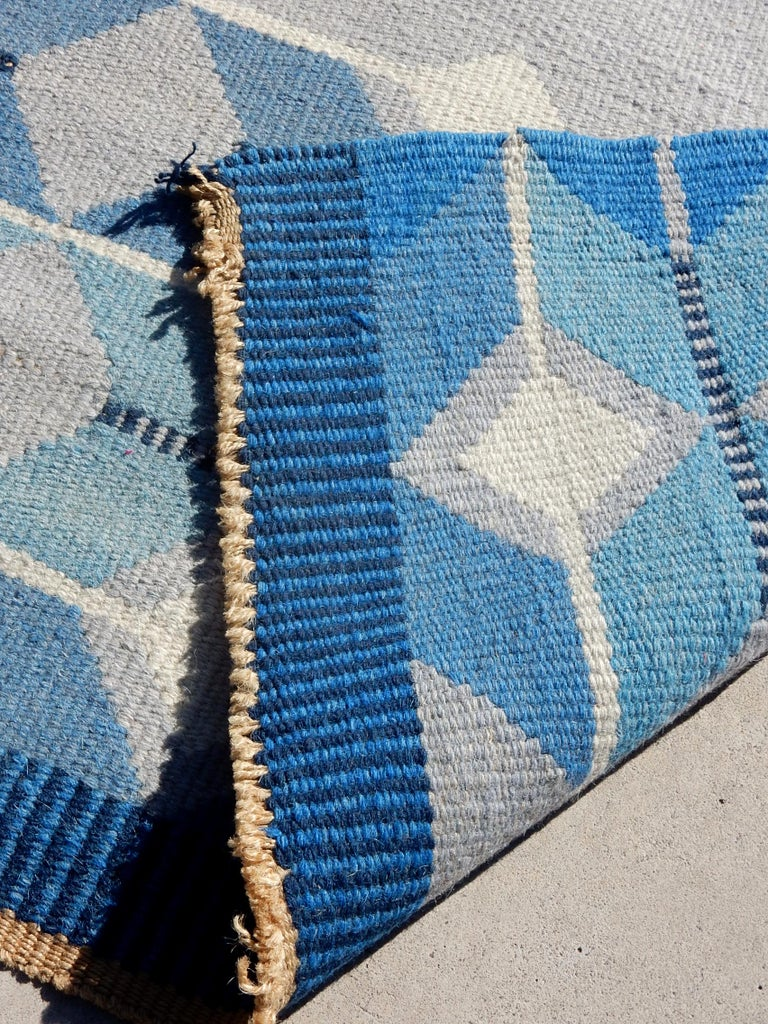 Swedish Geometric Flat-Weave Rug by MLB 1950s Scandinavian Artist For Sale 2