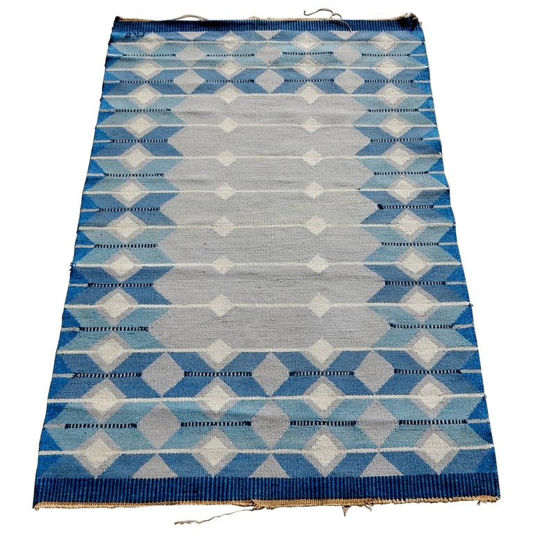 Swedish Geometric Flat-Weave Rug by MLB 1950s Scandinavian Artist For Sale