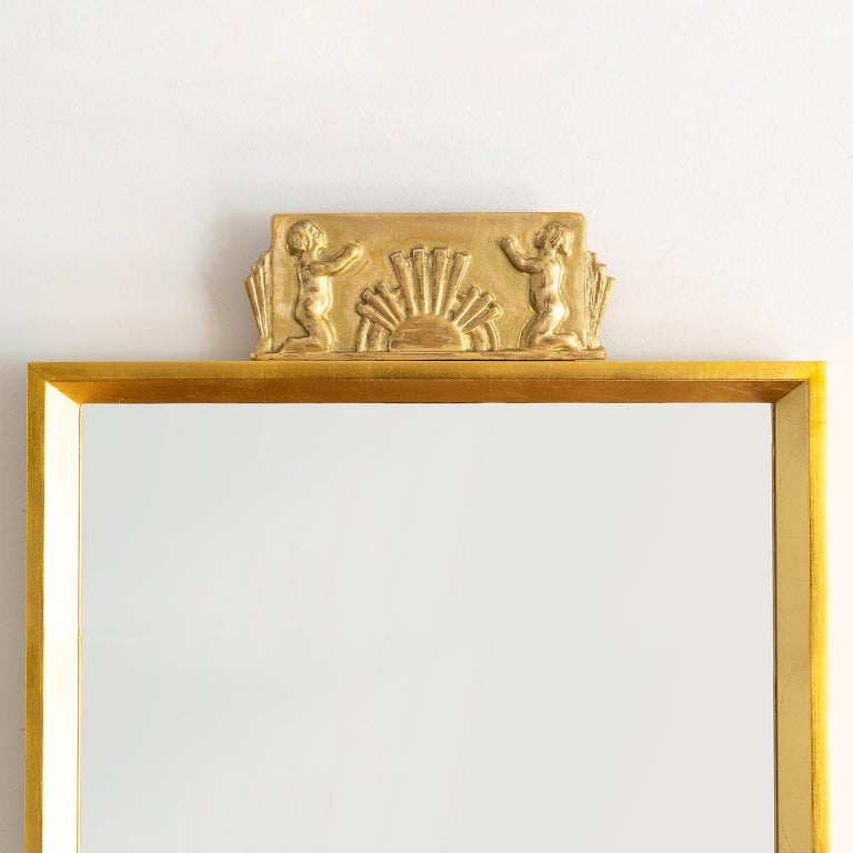 Scandinavian Modern Swedish Giltwood Mirror with Decorative Carving For Sale