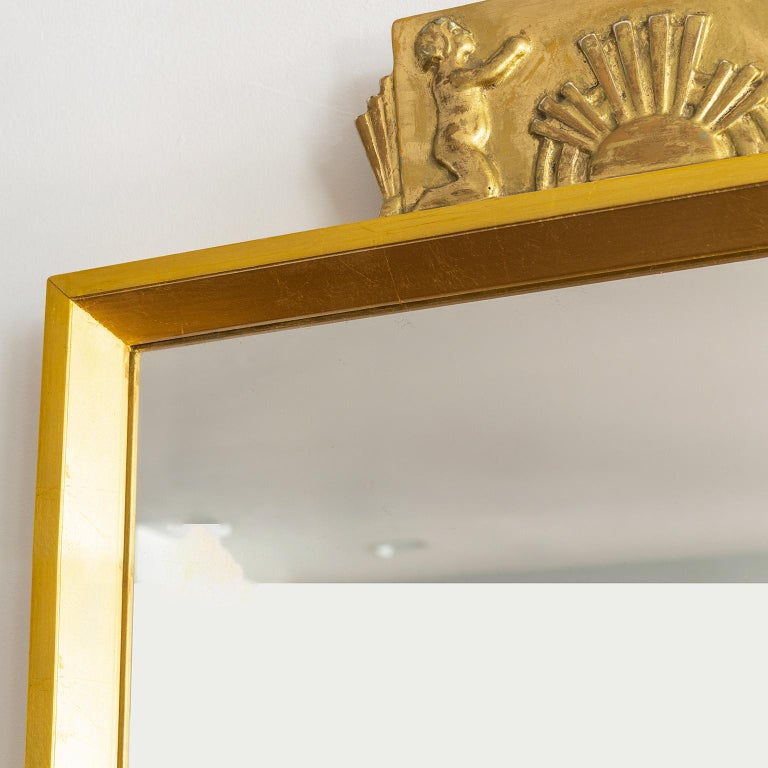 Scandinavian Swedish Giltwood Mirror with Decorative Carving For Sale