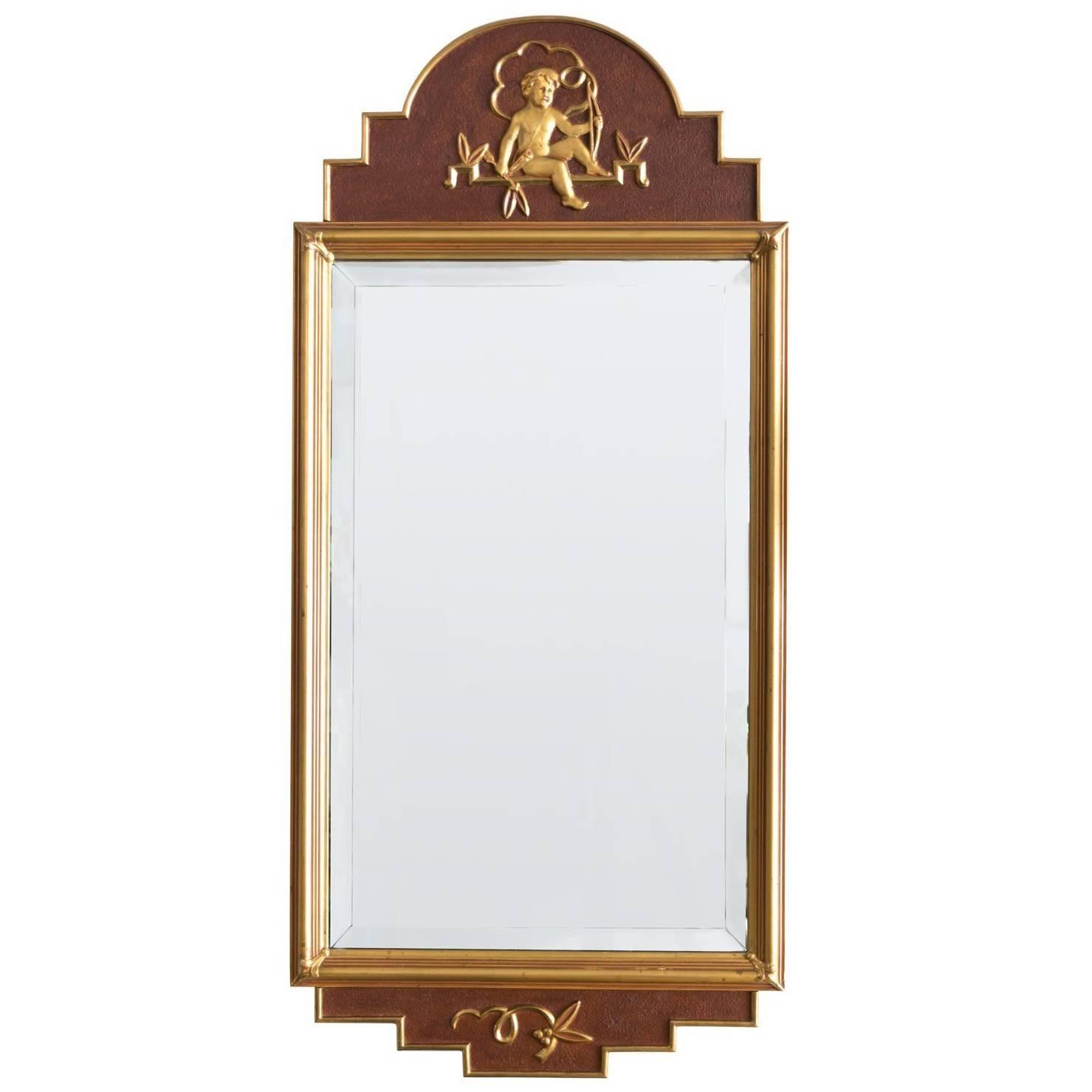 Swedish Giltwood Art Deco Mirror by W. Lundell