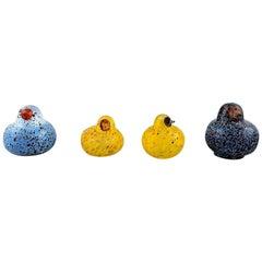 Swedish Glass Art, Four Birds in Mouth Blown Art Glass, 1980s