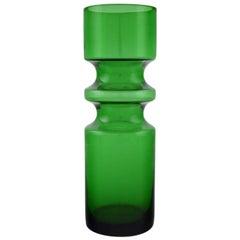 Swedish Glass Artist, Vase in Green Mouth Blown Art Glass, 1960s-1970s