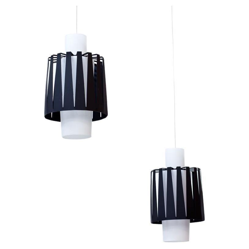Swedish Glass & Metal Pendant Lamps by ASEA